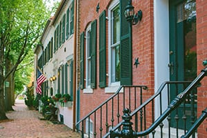A row of brick townhouses in historic district