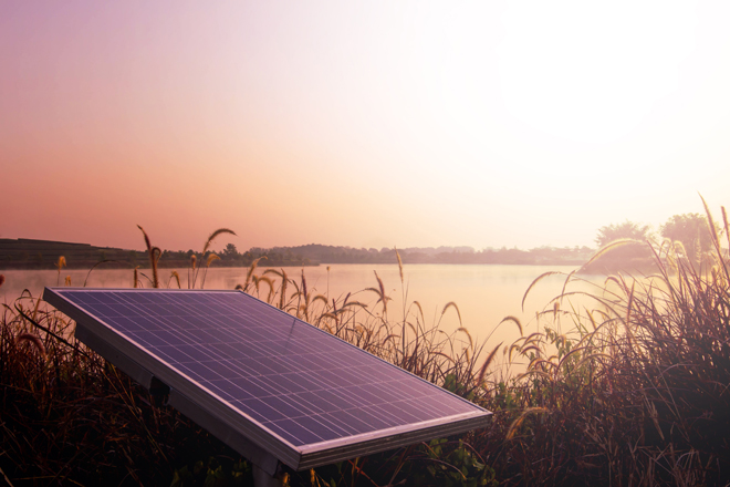 Solar energy panels in natural environment