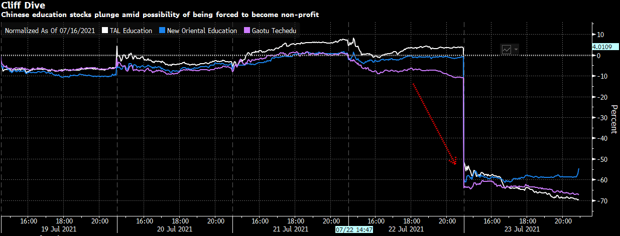 Cliff Dive - Chinese education stocks plunge amid possibility of being forced to become non-profit