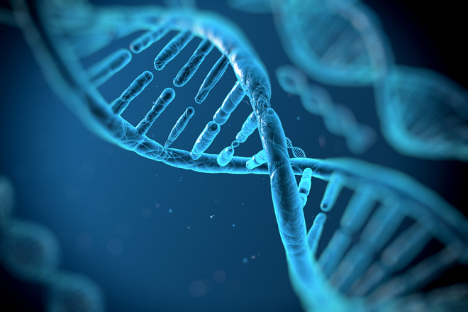 approximate the DNA molecule on a blue background
