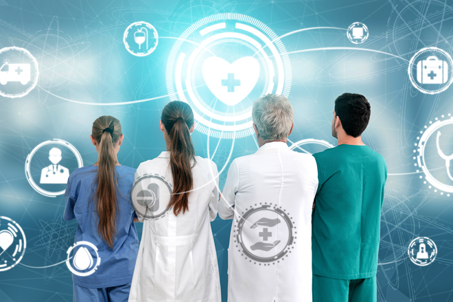 Group of medical doctors and nurses in hospital. Medical Healthcare Concept - Doctor in hospital with digital medical icons graphic banner showing symbol of medicine, medical care people, emergency service network, doctor data of patient health.