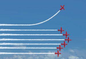 red arrows display planes sky