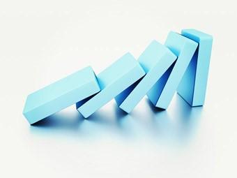 blue dominoes falling