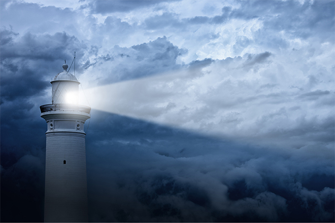 navigating volatility in fast-evolving markets lighthouse stormy sky