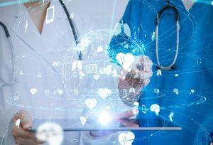 doctor stethoscope technology icons digital hologram